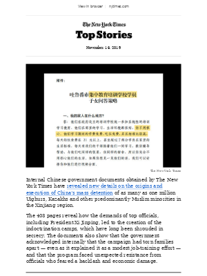 Top Stories: 403 pages of Chinese government files