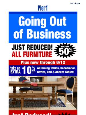 New Price Cuts – All Furniture now 50% off!