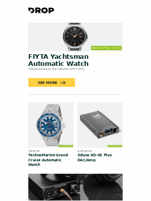 Massdrop - FIYTA Yachtsman Automatic Watch, TechnoMarine Grand Cruise Automatic Watch, Xduoo XD-05 Plus DAC/Amp and more...