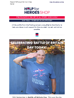Help For Heroes - Celebrate Battle of Britain Day   FREE UK P&P 👍