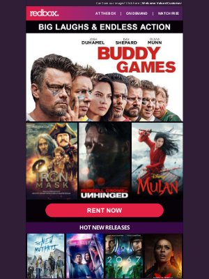 Redbox - New Movies: Buddy Games & Iron Mask
