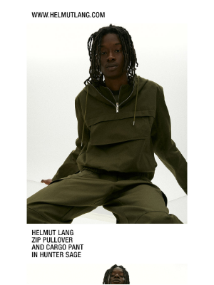 HELMUT LANG - Shop The Zip Pullover and Cargo Pant in Uniform Canvas — Plus Take an Extra 25% off Sale, up to 70% off