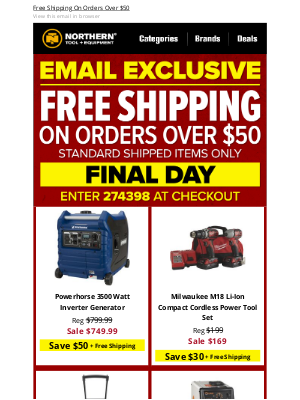Northern Tool + Equipment - ★ Email Exclusive★  FINAL DAY ★ Free Shipping★