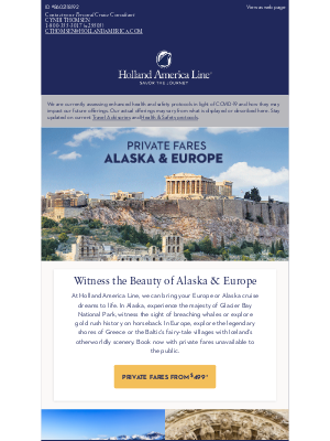Holland America Line - Private Fares to Alaska & Europe from only $499