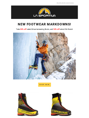 La Sportiva - 30% – 50% off Select Footwear and Ski Boots