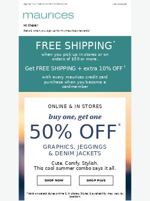 Serious savings find: BOGO 50% off graphics, jeggings & denim jackets