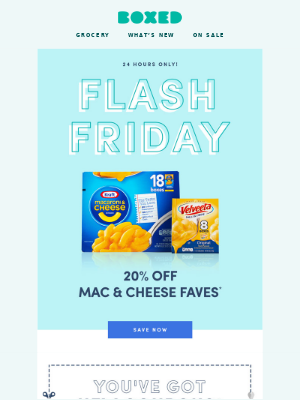 24 HOURS ONLY! 20% Off Mac & Cheese Faves 🤗