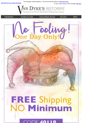 This is No April Fool's, Free Shipping, NO Minimum! Today ONLY!