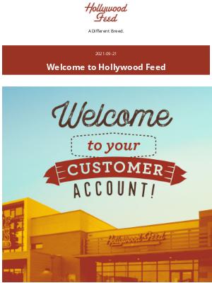 Hollywood Feed - Customer Account Confirmation