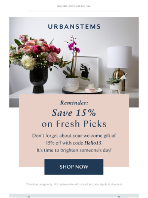 UrbanStems - Reminder: save 15% on fresh picks