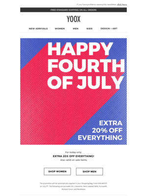 Celebrate the 4th of July with an EXTRA 20% off everything