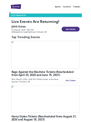 StubHub - JXDN events just announced! Grab your tickets now!