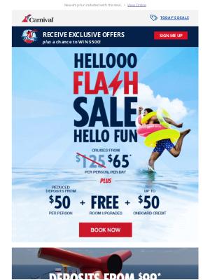Carnival Cruise Line - Flash Sale Alert: Big savings with a bonus! ☀️