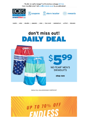 Bob's Stores - ENDS TONIGHT: $5.99 No Fear Men's Swimsuits