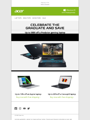 Acer - Gifts for the Graduate: Save up to $800 off a Predator Gaming Laptop