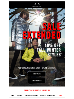 Sale EXTENDED: Take 60% Off Fall Winter Styles