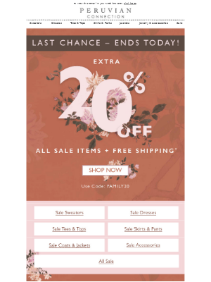 Ends Today! 20% off Sale + FREE Shipping!