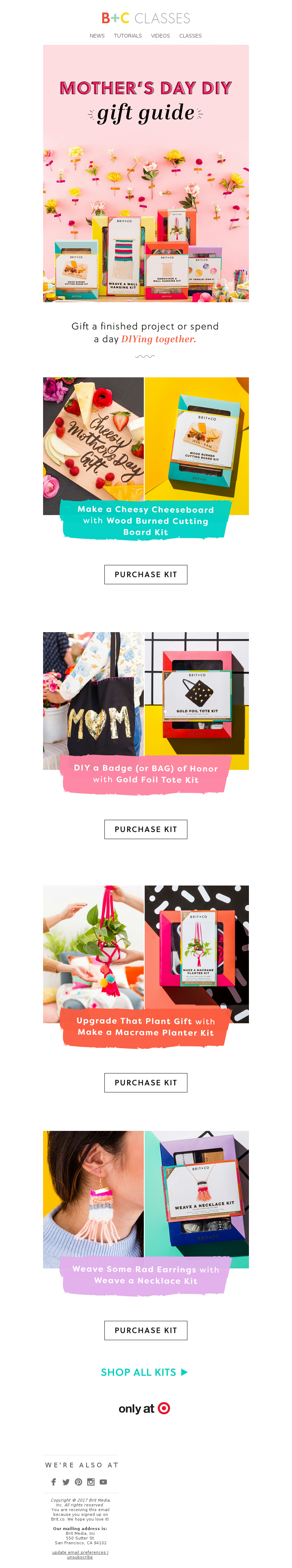 Mother's day email example from Brit + Co