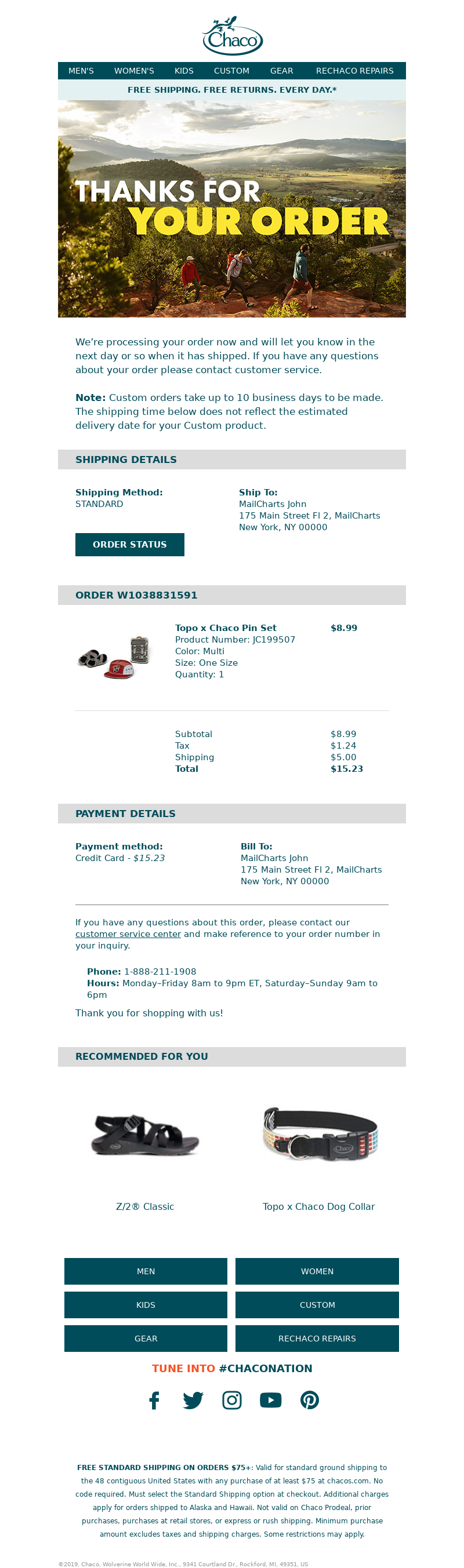 Chaco - Your Chaco Order Confirmation - Order #W1038831591