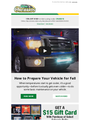 O'Reilly Auto Parts - Save on Fall Maintenance Items