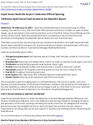 Hyatt Hotels - Hyatt House Nashville Airport Celebrates Official Opening