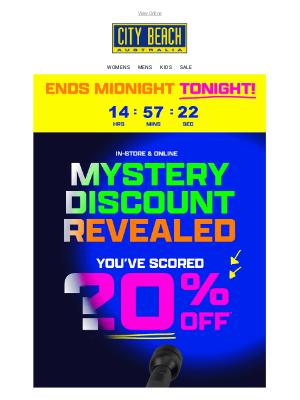 City Beach Australia -  ⏳ Mystery Discount ENDS TONIGHT!