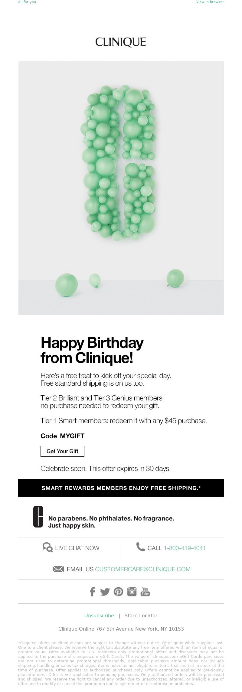 Clinique - Happy birthday! Enjoy this special treat.