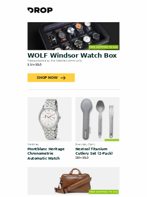 WOLF Windsor Watch Box, Montblanc Heritage Chronometrie Automatic Watch, Nextool Titanium Cutlery Set (2-Pack) and more...