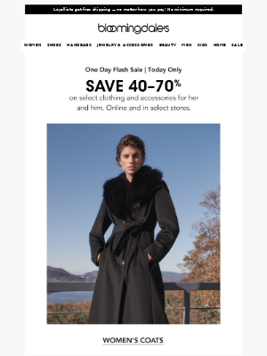 Today only! Save up to 70% on clothing and accessories