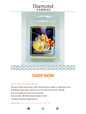 Diamond Candles - Happy Birthday! Make your day or someone else's EXTRA SPECIAL with RING CANDLES & WAX MELTS