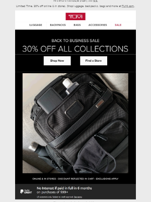 TUMI - Back to Business Sale: 30% Off All Collections
