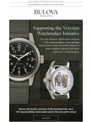 Bulova - Supporting the Veteran's Watchmaker Initiative