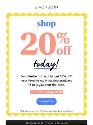 All. The. Products. Now 20% off!