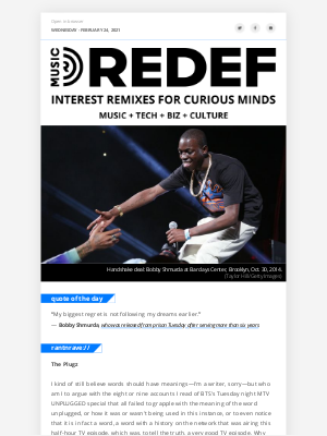 REDEF - jason hirschhorn's @MusicREDEF: 02/24/2021 - Plugging BTS, Bobby Shmurda Freed, New Era of Music Docs, Cardi Meets Mariah, Daft Punk in Wee Waa...