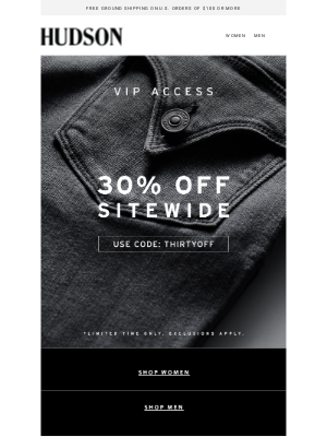 Hudson Jeans - You're in Early: 30% Off Sitewide