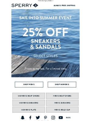 48 Hours Left ⌛ 25% Off Sneakers & Sandals