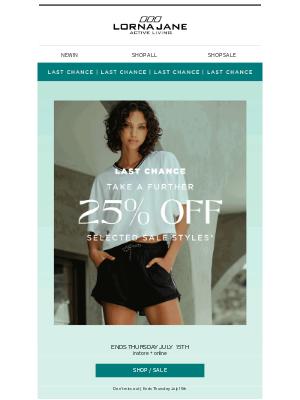 Lorna Jane (AU) - LAST CHANCE! Take a further 25% off sale styles ⏰