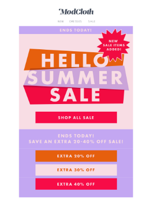Summer just started. But this sale is ending...