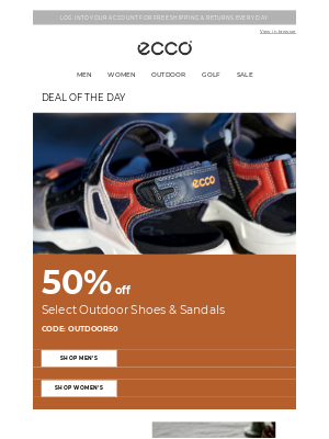 ECCO Shoes - Daily Deal - 50% off select outdoor styles