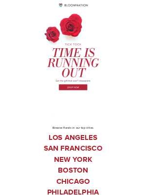 BloomNation - Tick Tock - The countdown to Valentine's Day is on!