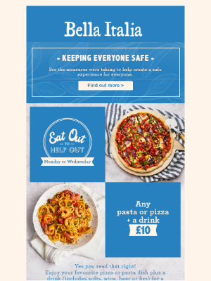 Bella Italia (UK) - Any pizza or pasta + drink for £10