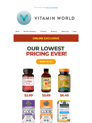Vitamin World - You Won't Find Lower Prices Anywhere Else