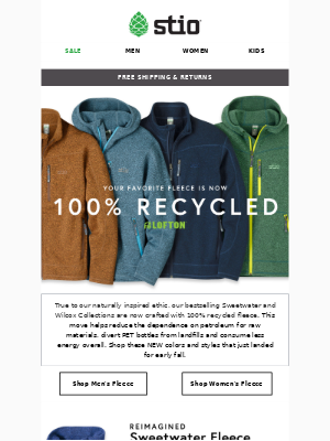 Your Favorite Fleece ⛰️♻️⛰️ Now 100% Recycled