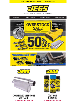 JEGS Performance - JEGS Overstock Sale - Mufflers, Paint, Master Cylinders + More!