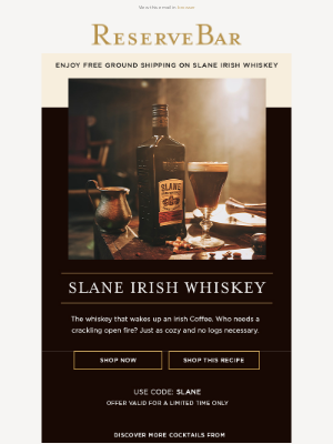 Reserve Bar - The Whiskey That Wakes Up An Irish Coffee | Slane Irish Whiskey