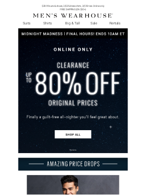 Men's Wearhouse - Hurry, Midnight Madness ends at 10AM ET! CLEARANCE