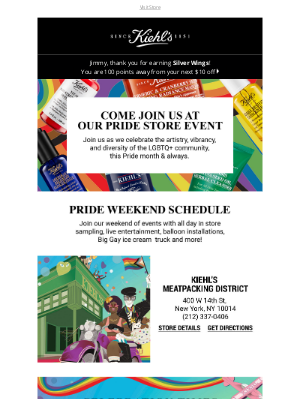 Kiehl's USA - Join Us This Weekend! In Store Pride Celebrations 🌈
