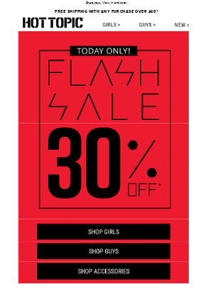 A Flash Sale cuz it's FRIYAY!