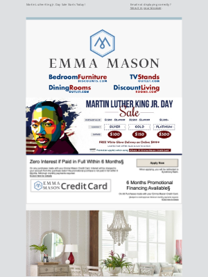 Bedroom Furniture Discounts - Martin Luther King Day Sale Starts Today! 🗽