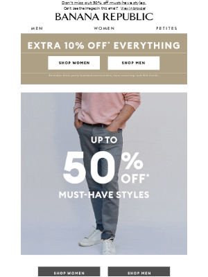 Banana Republic USA - Final Hours ⏰: 50% off dresses, 40% of all pants and more.